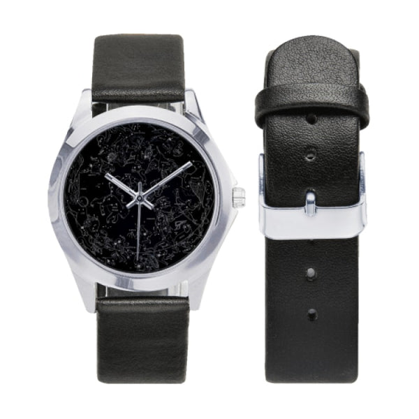 northern hemisphere constellation map black faux leather strap watch - Watch
