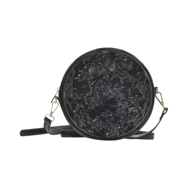 Northern Hemisphere Constellation Map Faux Leather Round Crossbody Bag - Black - Purse