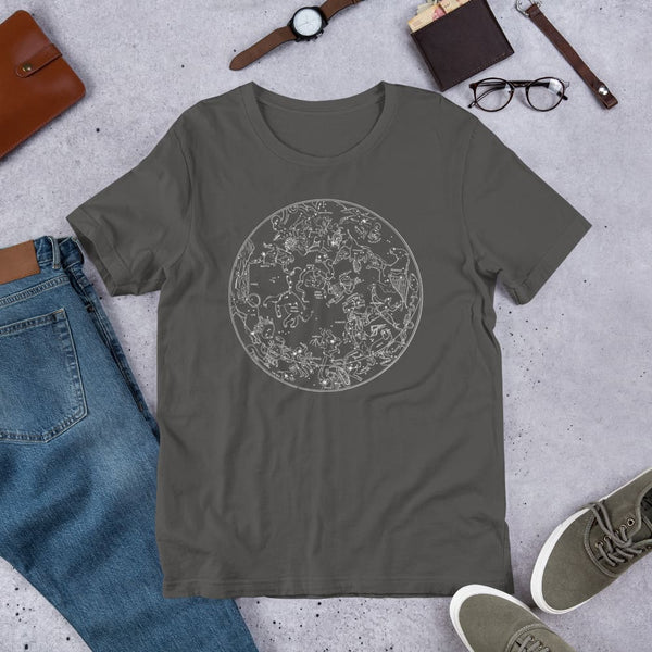 Northern Hemisphere Constellation Map Unisex Tee - Dark Gray / S - Unisex Tee