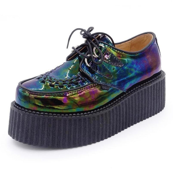 oil slick holographic lace-up platform creepers - Black / 5 - Creepers
