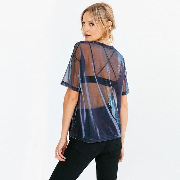 Oil Slick Holographic Sheer Mesh Tee Shirt - Womens Tee