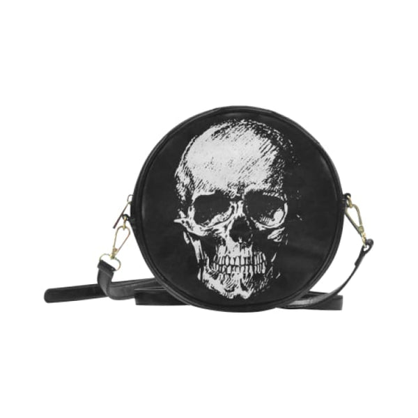 Old Skull Faux Leather Round Crossbody Bag - Black - Purse