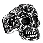 Ornate Floral Skull Stainless Steel Ring - Steel / 7 - Ring