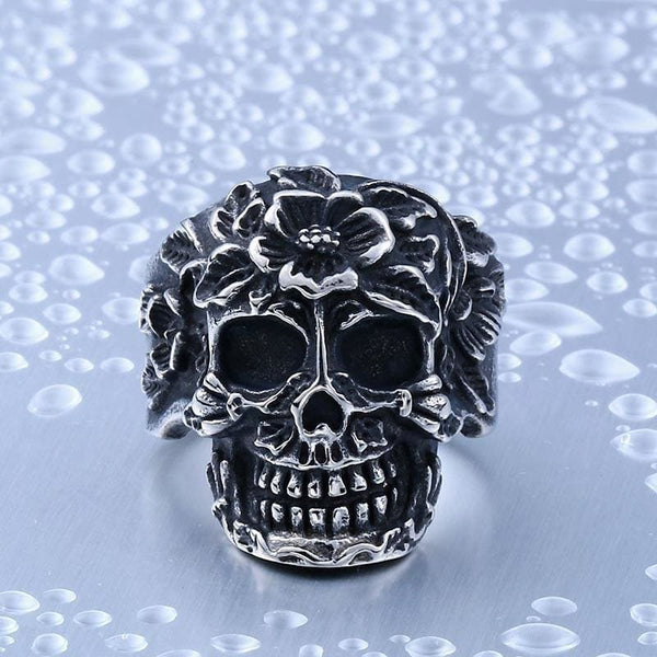 Ornate Floral Skull Stainless Steel Ring - Ring
