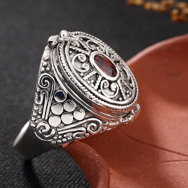 oval filigree sterling silver poison ring - Sterling Silver / 5.5 - Ring