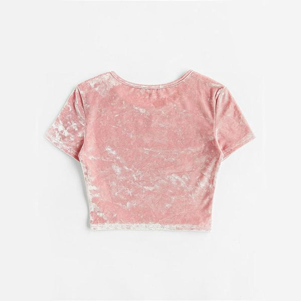 Pastel Pink Crushed Velvet Crop Top Tee - Crop Top
