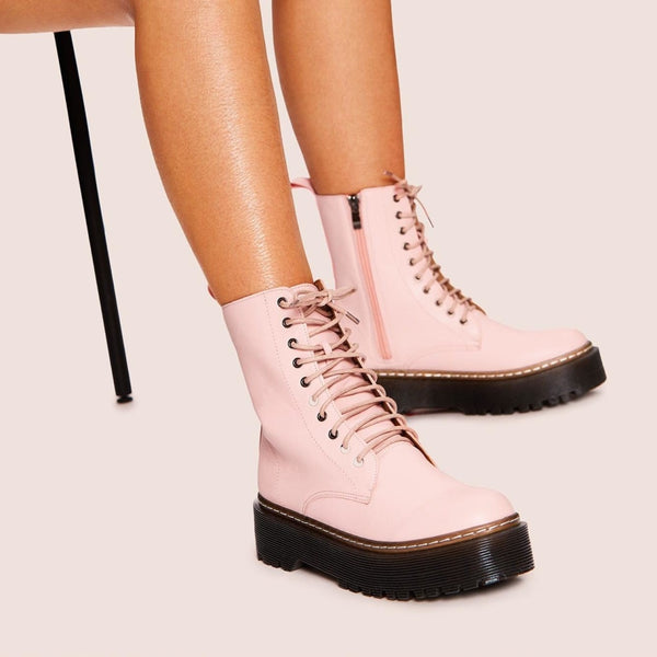 pastel pink lace-up platform combat boots - Pink / 5 - Womens Boots