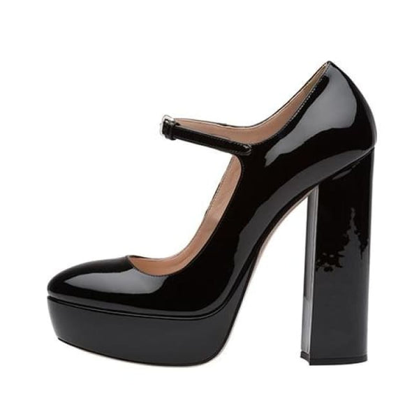 Patent Shine Mary Jane Platform Block Heel Pumps - Black / 4 - Heels