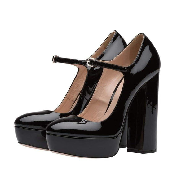 Patent Shine Mary Jane Platform Block Heel Pumps - Heels