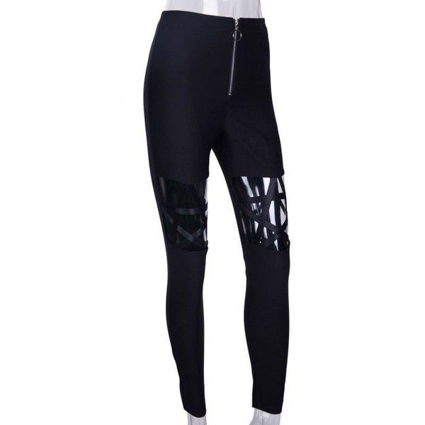 Pentagram Cutout Black Zipper Front Leggings - Leggings