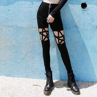 Pentagram Cutout Black Zipper Front Leggings - Black / L - Leggings