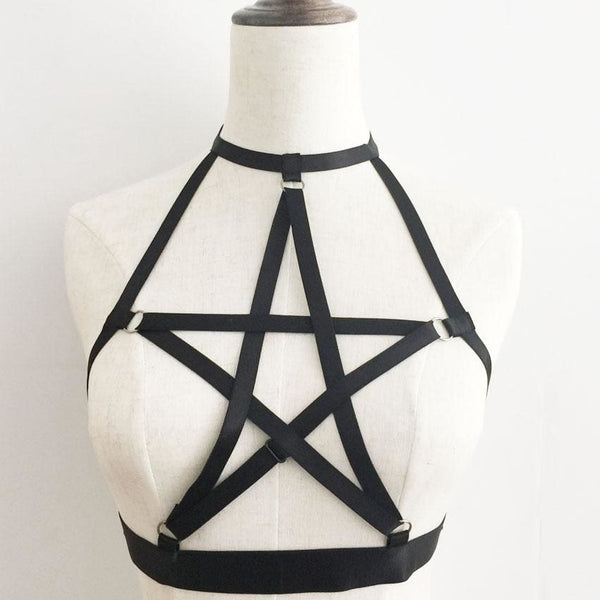 Pentagram Cutout Halter Harness Bralette - One Size / Black - Bralette