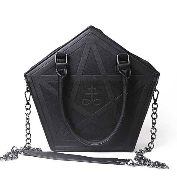 Pentagram Gothic Top Handle Chain Strap Handbag - Black - Purse