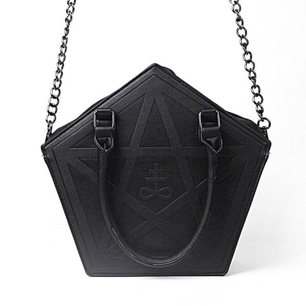 Pentagram Gothic Top Handle Chain Strap Handbag - Purse