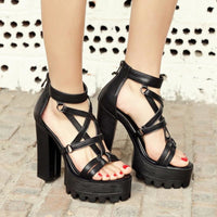 pentagram strap platform high heel sandals - Sandals