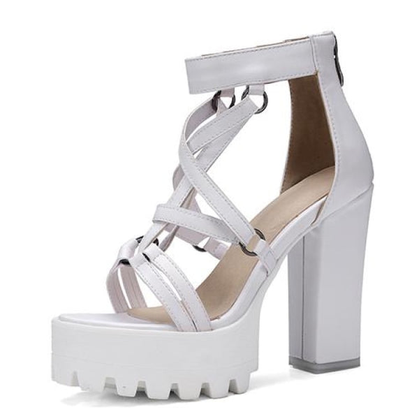 pentagram strap platform high heel sandals - White / 5.5 - Sandals
