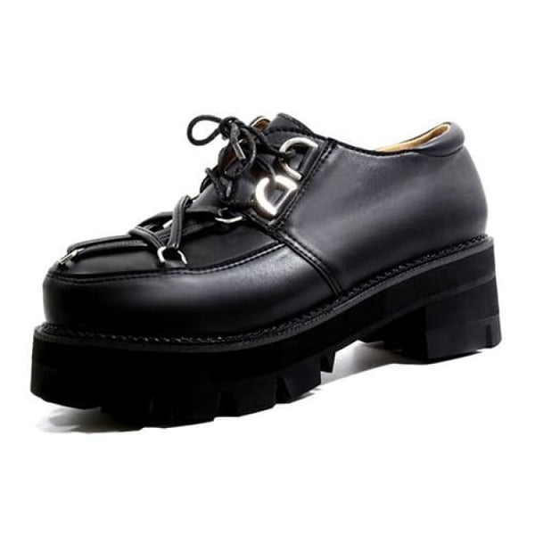 Pentagram Strap Toe Lace-Up Platform Creepers - Black / 6 - Creepers