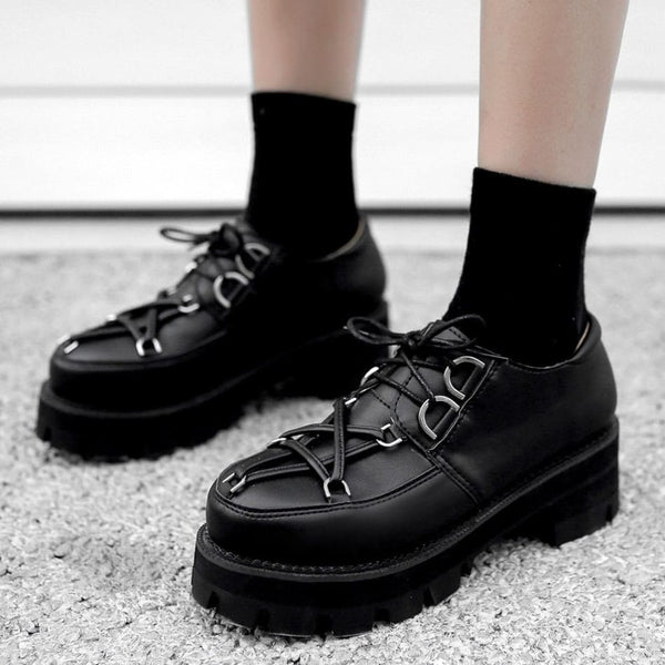Pentagram Strap Toe Lace-Up Platform Creepers - Creepers