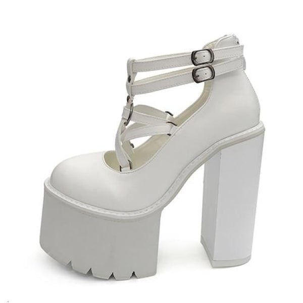 Pentagram Strap Ultra Platform Mary Jane Heels - White / 6 - Heels