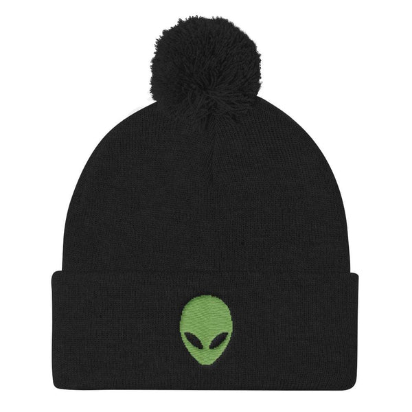Pixel Alien Embroidered Pom Pom Beanie - Black - Beanie