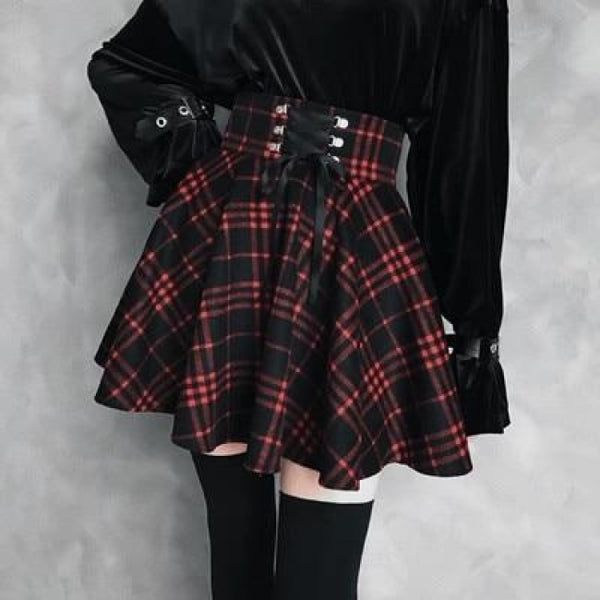 Plaid Corset-Laced High Waist Mini Skirt - Red / 3X - Skirt