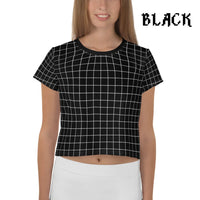 Plaid Tartan Crop Top Ringer Tee - Black / Xs - Crop Top