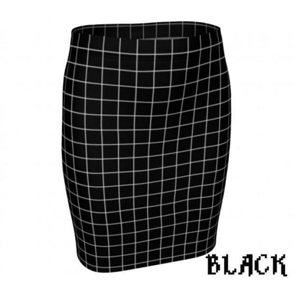Plaid Tartan Fitted Pencil Skirt - Black / X-Small - Fitted Skirt