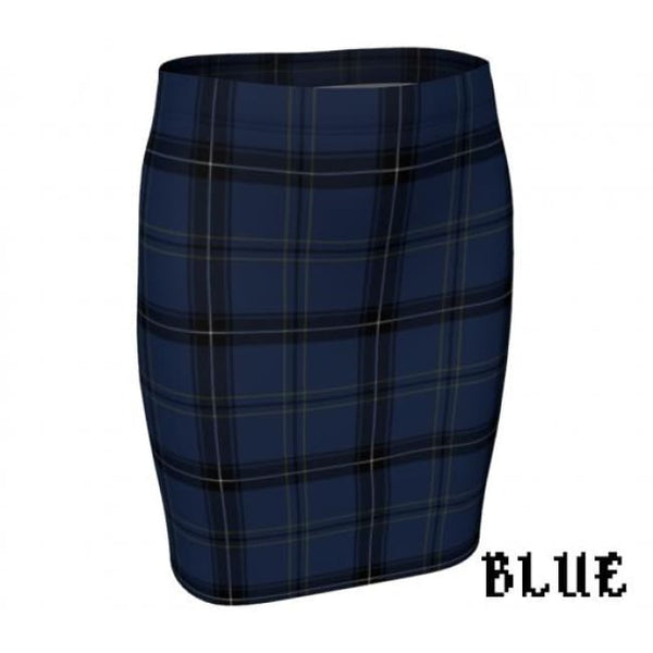 Plaid Tartan Fitted Pencil Skirt - Blue / X-Small - Fitted Skirt