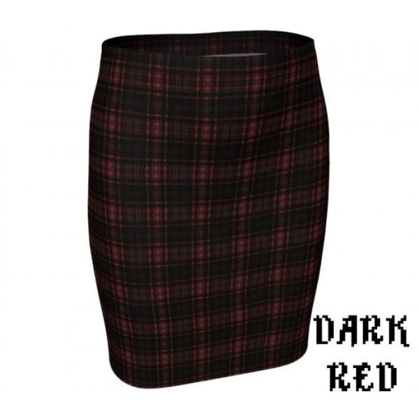Plaid Tartan Fitted Pencil Skirt - Dark Red / X-Small - Fitted Skirt