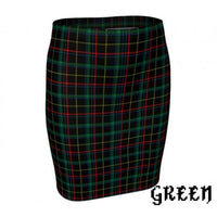Plaid Tartan Fitted Pencil Skirt - Green / X-Small - Fitted Skirt