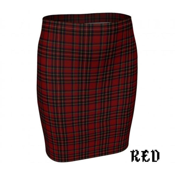 Plaid Tartan Fitted Pencil Skirt - Red / X-Small - Fitted Skirt