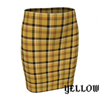 Plaid Tartan Fitted Pencil Skirt - Yellow / X-Small - Fitted Skirt