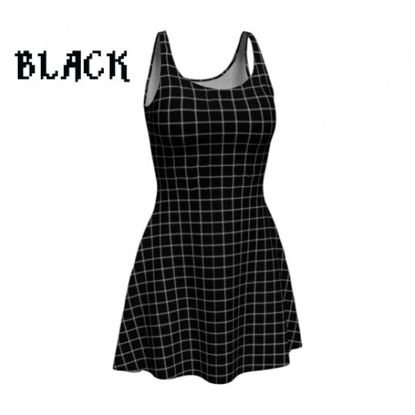plaid tartan flare A-line skater dress - Black / X-Small - Dress