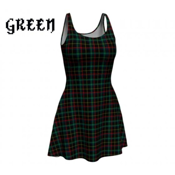 plaid tartan flare A-line skater dress - Green / X-Small - Dress