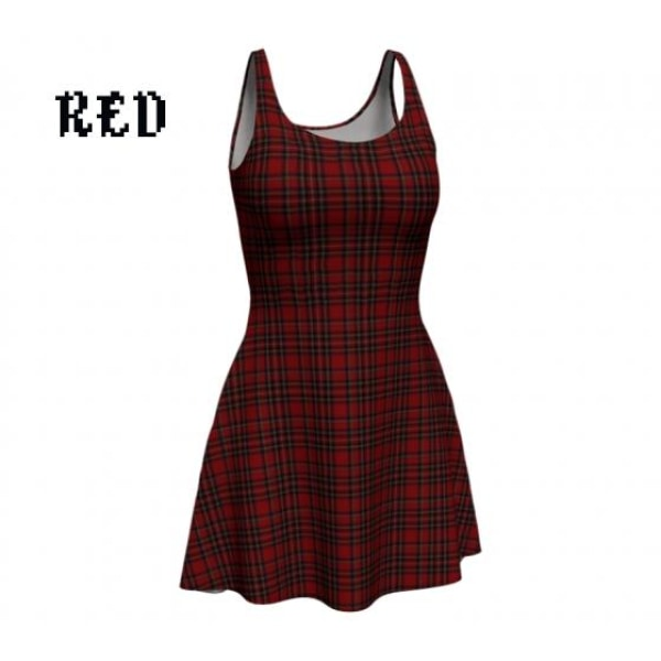 plaid tartan flare A-line skater dress - Red / X-Small - Dress