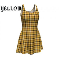 plaid tartan flare A-line skater dress - Yellow / X-Small - Dress