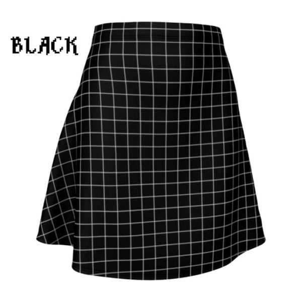 Plaid Tartan Flare A-Line Skater Skirt - X-Small / Black - Flare Skirt