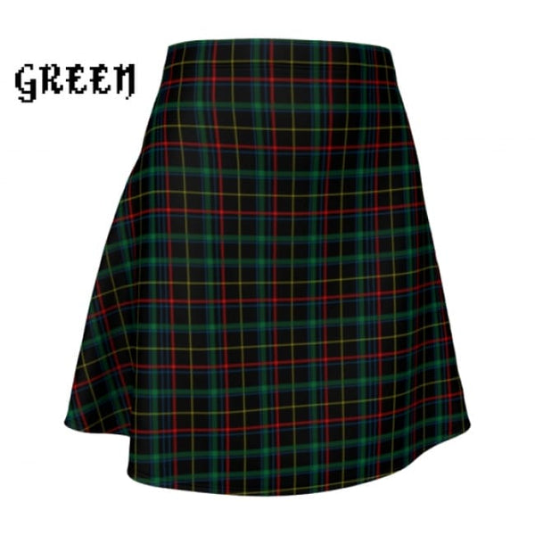 Plaid Tartan Flare A-Line Skater Skirt - X-Small / Green - Flare Skirt