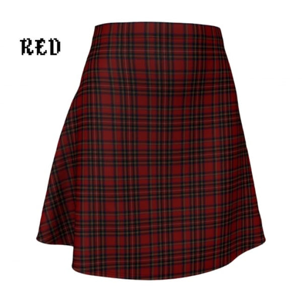 Plaid Tartan Flare A-Line Skater Skirt - X-Small / Red - Flare Skirt