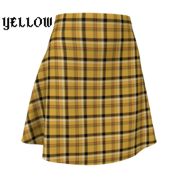 Plaid Tartan Flare A-Line Skater Skirt - X-Small / Yellow - Flare Skirt