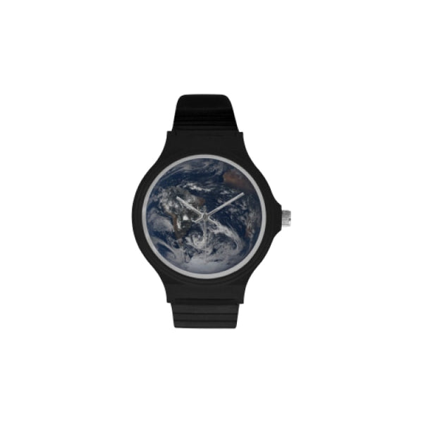 planets and moons space images black plastic watch - Black / Earth - Watch