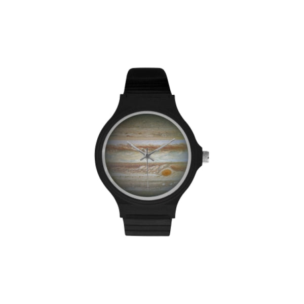planets and moons space images black plastic watch - Black / Jupiter - Watch