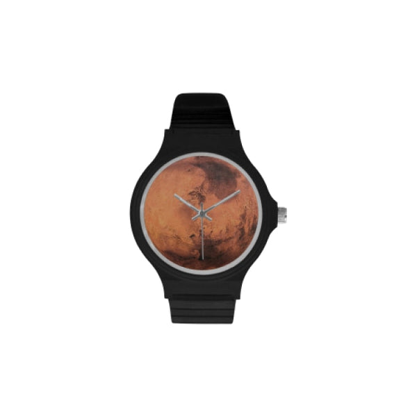 planets and moons space images black plastic watch - Black / Mars - Watch