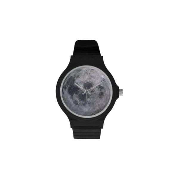 planets and moons space images black plastic watch - Black / Moon - Watch