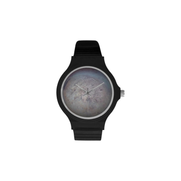 planets and moons space images black plastic watch - Black / Triton - Watch