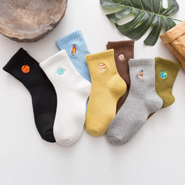 Planets And Space Travel Embroidered Ribbed Socks - Socks