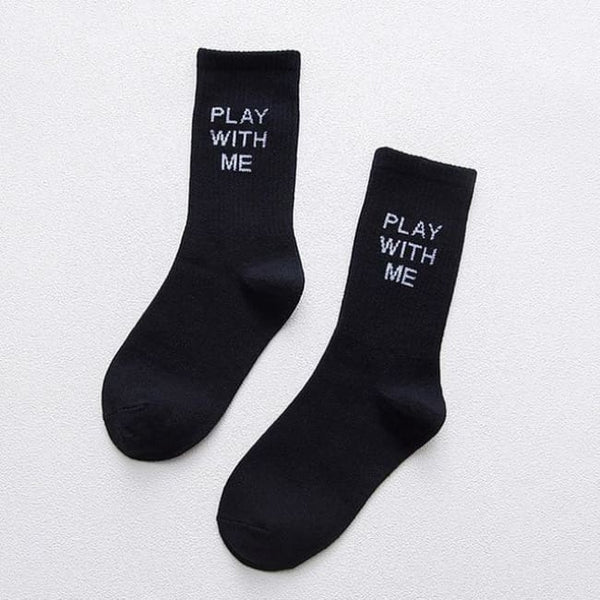 Play With Me Crew Socks - Black / M - Socks