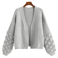 Popcorn Knit Sleeve Oversize Open Front Cardigan - Sweater