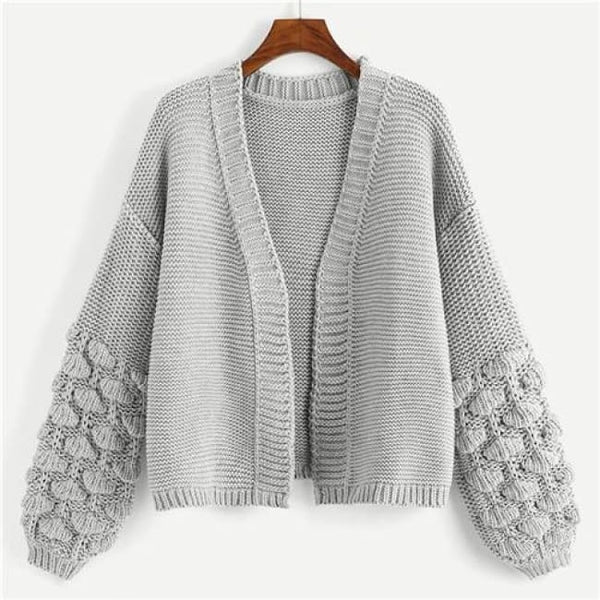 Popcorn Knit Sleeve Oversize Open Front Cardigan - Gray / S - Sweater