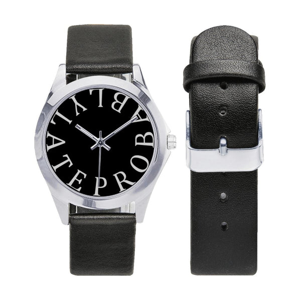 probably late black faux leather strap watch - Watch
